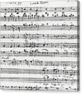 Chorus Of Shepherds, Handwritten Score Of The Opera Ascanio In Alba Canvas Print