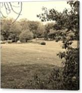 Christ In The Field Sepia Canvas Print