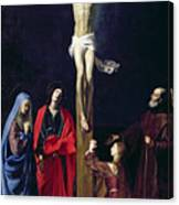 Christ On The Cross With The Virgin Mary Magdalene St John And St Francis Of Paola Canvas Print