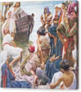 Christ Preaching From The Boat Canvas Print