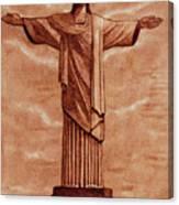 Christ The Redeemer Statue Original Coffee Painting Canvas Print