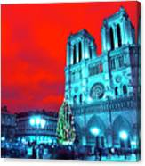 Christmas At Notre Dame Pop Art Canvas Print