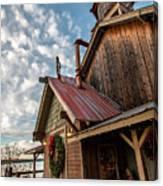 Christmas Barn On The Lake Canvas Print