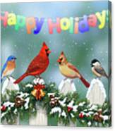 Christmas Birds And Garland Canvas Print