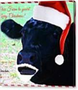 Christmas Cow Greeting Canvas Print