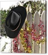 Christmas Cowboy Hat On Fence - Merry Christmas  Canvas Print