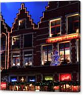 Christmas Decorations On Buildings In Bruges City Canvas Print