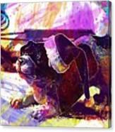 Christmas Dog Santa Hat Slide  Canvas Print