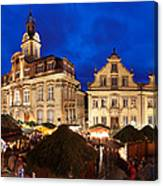 Christmas Fair In Front Of Town Hall Canvas Print
