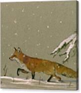 Christmas Fox Snow Canvas Print