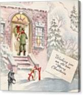 Christmas Greeting Card 36 - Snowy Winter Eve  Canvas Print