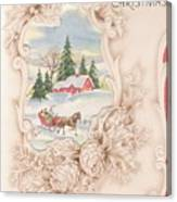 Christmas Greetings 1251 - Vintage Christmas Cards - Snowy Cottage Canvas Print