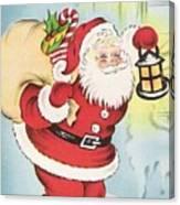 Christmas Illustration 1216 - Vintage Christmas Cards - Santa Claus With Christmas Gifts Canvas Print