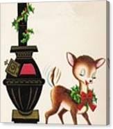 Christmas Illustration 1217 - Vintage Christmas Cards - Reindeer Canvas Print
