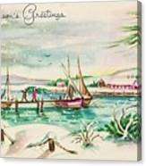 Christmas Illustration 1220 - Vintage Christmas Cards - Landscape Painting Canvas Print