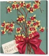 Christmas Illustration 1228 - Vintage Christmas Cards - Holiday Cheer - Flowers Canvas Print
