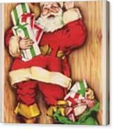 Christmas Illustration 1230 - Vintage Christmas Cards - Santa Claus With Christmas Gifts Canvas Print