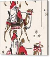Christmas Illustration 1234 - Vintage Christmas Cards - Three Kings On Camel Canvas Print