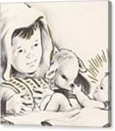 Christmas Illustration 1248 - Vintage Christmas Cards - Infant Jesus On Crib Canvas Print