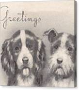 Christmas Illustration 1252 - Vintage Christmas Cards - Two Dogs Canvas Print