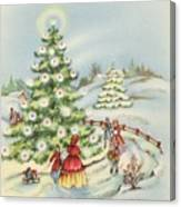 Christmas Illustration 15 - Winter Ladscape During Christmas Time Canvas Print