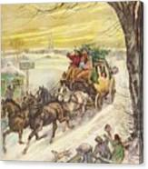 Christmas Illustration 829 - Vintage Christmas Cards - Horse Drawn Carriage Canvas Print