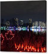 Christmas Lights At Lafarge Lake In City Of Coquitlam Canvas Print