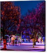 Christmas Lights At Locomotive Park Canvas Print