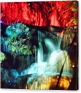 Christmas Lights At The Waterfall Canvas Print