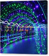 Christmas Lights In Tunnel At Lafarge Lake Canvas Print