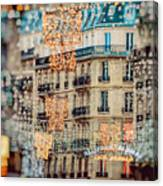 Christmas Lights Paris At Twilight Canvas Print