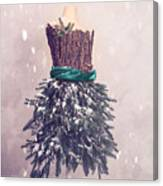 Christmas Mannequin Dressed In Fir Branches Canvas Print