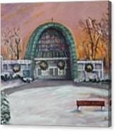 Christmas Morning At Sacred Heart Church Canvas Print