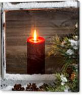 Christmas Red Candle With Snow Covered Home Window And Pine Tree Canvas Print