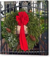 Christmas Ribbon On Iron Door Canvas Print
