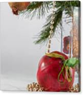 Christmas Tree Branch And Decoration In A Vase Canvas Print