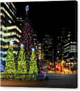 Christmas Tree On New Year's Eve In The Street Of A Big City Canvas Print