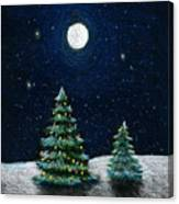 Christmas Trees In The Moonlight Canvas Print