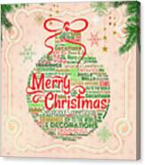 Christmas Words Ornament Canvas Print