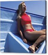 Christy In A Blue Boat Canvas Print
