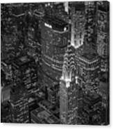 Chrysler Building Aerial View Bw Canvas Print