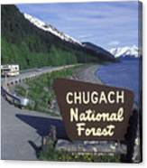 Chugach National Forest Sign And Scenic Canvas Print