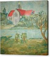 Church Across River Canvas Print