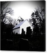 Church And Cemetary- Lens Canvas Print