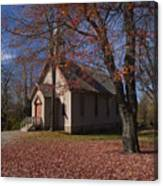 Church And Fall Foliage In Eckley Village Canvas Print