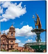 Church And Fountain In Cusco Peru Canvas Print