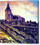 Church Dominant With Decorative Historical Staircase, Graphic Work From Painting. Canvas Print