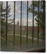 Church In Prison Yard Through Bars Canvas Print