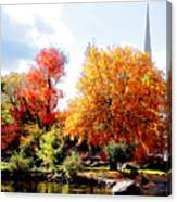 Church In The Distance In Autumn Canvas Print