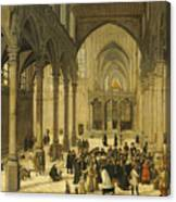 Church Interior With Christ Preaching To A Congregation, 1570 Canvas Print